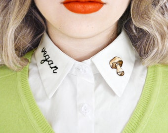 Vegan Detachable Embroidered Peter Pan Lapel Fake Collar/Half Shirt Patch