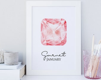 Garnet gemstone print, January birthstone print, birthstone wall art, gem print, printable wall art, red gem print, watercolor wall art