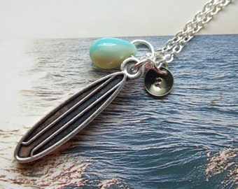 Surf Board Necklace, Surfers Jewelry, Surfers Best Friend Jewelry, Surf Lover, Personalized Necklace