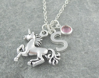Unicorn necklace, personalized jewelry, initial necklace, swarovski birthstone, birthstone necklace, unicorn jewelry, silver chain, for her