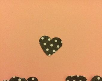100ct b/w polka dot heart confetti