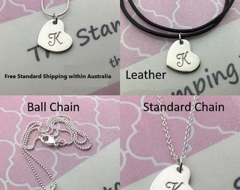 Personalised hand stamped small angled heart pendant necklace