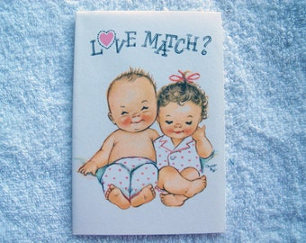 Charlot Byj Love Match Anniversary card / baby couple / 1940's small talk / vintage anniversary card