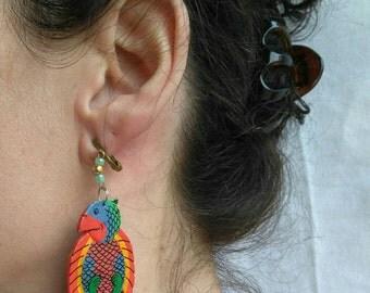 Parrots earrings Vintage