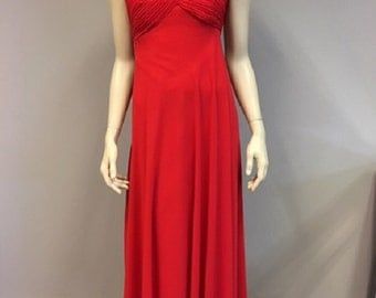 Passion Red Chiffon Dress One Shoulder Flower Strap Bridesmaids Wedding guest A Line Silhouette Prom Gown