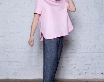 Pink organic cotton top, oversize T-shirt top, Short sleeves top, Light pink top, Summer blouse