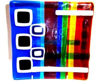 Multi-coloured square glass ornamental dish