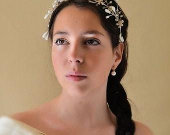Floral Bridal crown, headband , hair vine wedding,  wax flowers