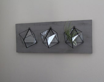 Set Of 3 Hanging Planters Handmade Geometric Modern Glass Wall Mounted Air Plant Succulent Holder Stained Glass Terrarium Indoor Planter