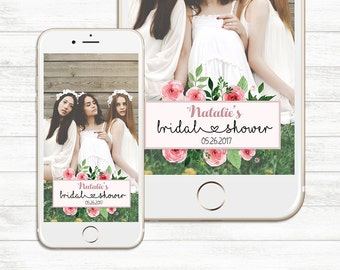 Custom Bridal Shower, Wedding Geofilter, Custom Snapchat Geofilter, Floral Geofilter, Bridal Shower Geofilter, Party Geofilter Custom Filter