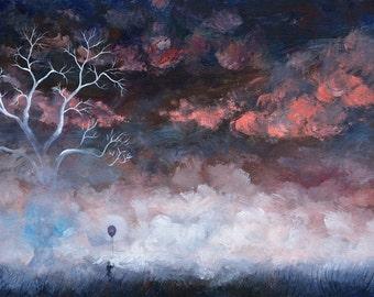 Original Acrylic Surreal Landscape Painting, Childhood, Fine Art, Fantasy Landscape Painting, Unique Art, Abstract Painting
