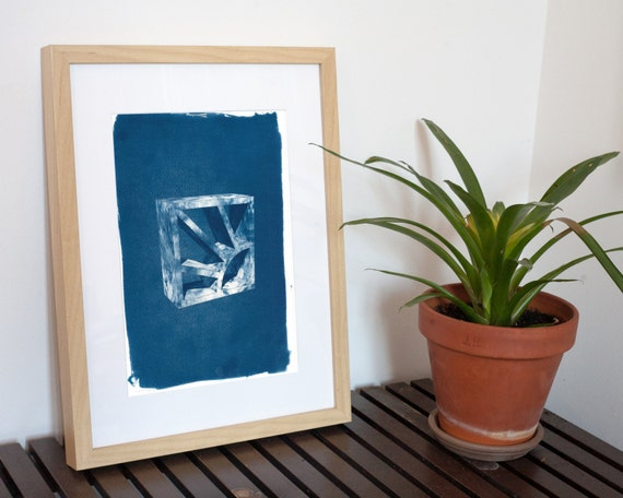 Trendy 3d Screen Block Brick, Cyanotype Tile Print on Watercolor Paper, A4 size