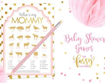 Who is my Mommy  Baby Shower Games, Animal Names, Matching Game, Printable Game, Instant Download, Printable Game, Pink and Gold