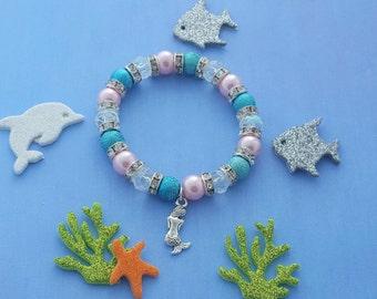 Mermaid Charm Bracelet, Kids Jewellery, Crystal Bracelet, Mermaid Jewelry, Children's Accessories, Beaded Bracelet, Kids Mermaid Gift, Girly