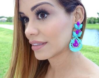 Aquamarine earrings, Big Turquoise Earrings, Jewelry Gift Ideas, Bridesmaid Earrings, Boho Jewelry, Chandelier Earrings,Drop Dangle Earrings