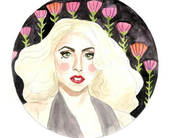 Lady Gaga Watercolor Illustration Art Print 5x7