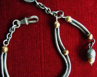 Watch chain old mesh snake ornate rhodium metal BILLET copper