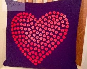 Heart Button Cushion/Pillow - 40cm x 40cm -  Navy with Red
