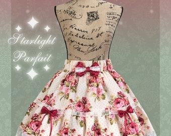 SALE! - Red Roses Classic/Elegant skirt | Kawaii, Harajuku, lolita Skirt | Handmade in the USA | Ready To Ship | Women's Size: SM |