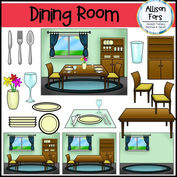 Dining room clip art for A living room clipart