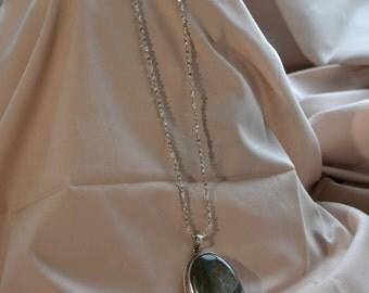 Vintage semi-precious stone pendant, Vintage sterling silver necklace, Jasper pendant