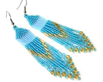 Blue beaded earrings Seed bead earrings Long dangle earrings Fringe beaded earrings Seed bead jewelry Beadwoven earrings Long boho earring