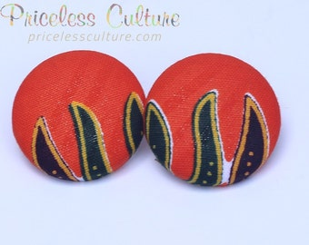 Orange Dashiki Earrings, African stud earrings, African Fire earrings, Orange Bridesmaids earrings, Button Covered earrings, Fabric earrings