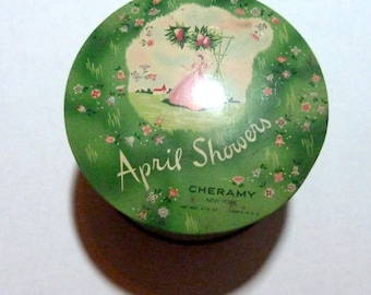 Vintage April Showers Powder Puff Tin Dusting Rare Cheramy Makeup Container