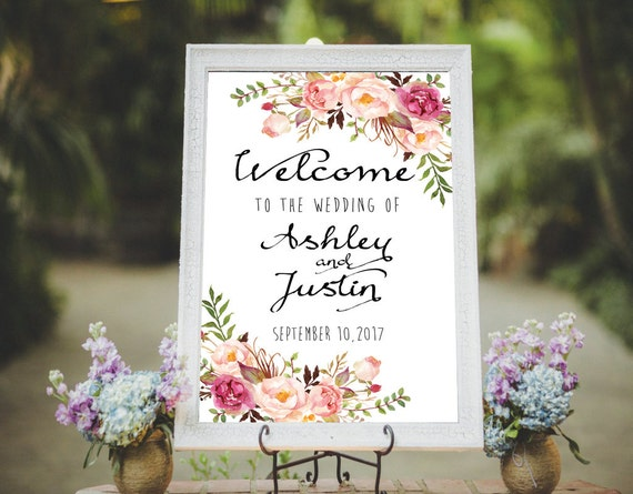 Welcome Wedding Sign Printable Wedding Sign Floral Wedding Suite Customized Sign Boho Bohemian Rustic Custom