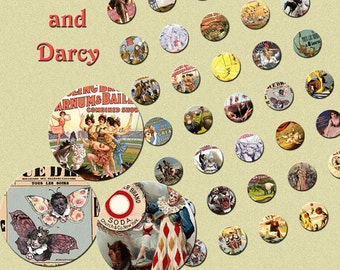 CIRCUS COLLAGE SHEETS! 2 inch and 1 inch circles set! vintage, cirque, download!