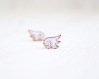 Angel wings stud earrings, bridesmaid earrings, wings polymer clay wedding earrings, copper wings, small resin jewelry