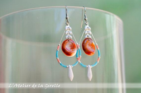 Blue, orange & seal shell Loop Drop Earring - Eye of Santa Lucia