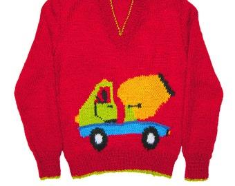 Knitting Pattern Tractor Jumper : 5xChildrens & Adults Tractor Jumper / Sweater Knitting Patterns PDF Ins...