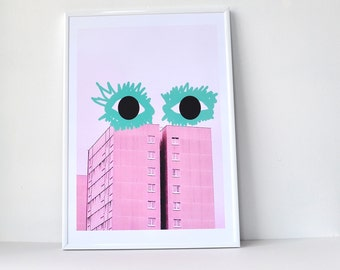 Yey Green Lashes - Architecture Print, Mixed Media, Graffiti Art, Cool Poster,  Street Photography, Modern Urban, Digital print