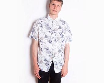Vintage 90s, Cream & Olive, Patterned, Button-Up, Cotton Shirt // Size L