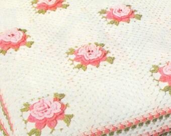 Rose Flower Bedspread PDF Crochet Pattern Instructions : Bed Cover . Blanket . Throw . Afghan . Instant Digital Download