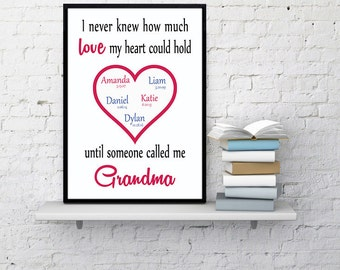 Gift for Grandma PERSONALIZED with GRANDCHILDREN'S NAMES Grandmother present Unique grandma gift from grandkids love my heart could hold