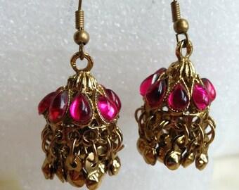 Fushia love Indian Earrings | Bollywood Jewelry | Indian Wedding Jewelry/Hyderabadi Jewelry/Hyderabadi Karanphool Earrings/Bohemian jewelry