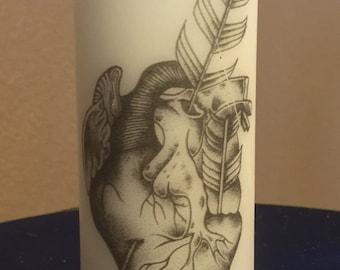 2 X 6 Pillar Candle Arrow Heart