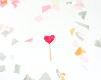 Red Heart Cupcake Toppers Set of 14 - Bachelorette Party Cupcake Toppers