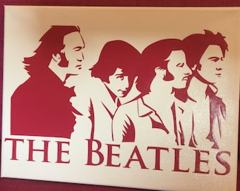 """The Beatles Canvas, 9"""" x 12"""", Choose the Canvas pictured Or Order your own and Choose from several colors!"""