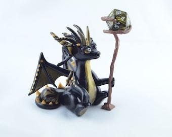 Black gold wizard dragon, clay dragon, dice dragon, dragon sculpture, dragon figurine, magic dragon