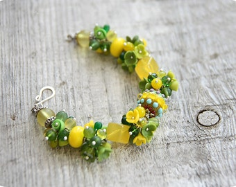 Lime bracelet green jewelry yellow flower bracelet trending jewelry lime green jewelry lampwork bracelet homemade gift for her occasion gift