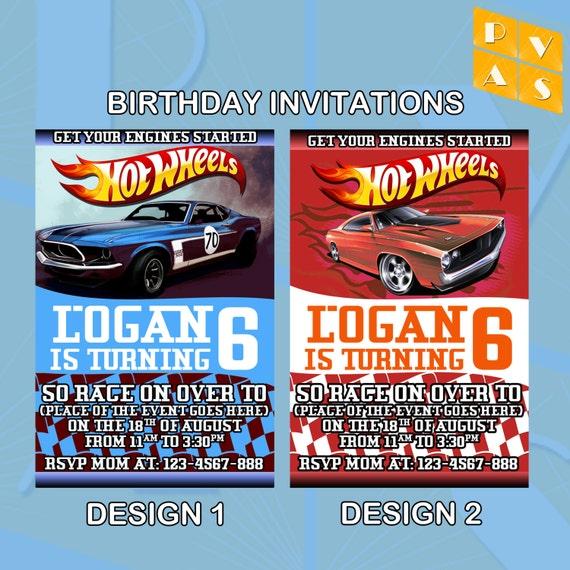 Hot Wheels Birthday Invitation Printable Ticket By PVARTSTUDIO