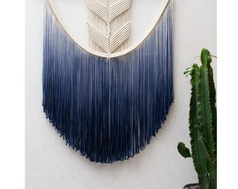 "Large Macrame Wall Hanging ""FLOWY CHEVRONS""/ Modern Macrame / Dip Dye / Wall Art / Boho Wall Hanging / Wall Tapestry / Macrame Tapestry"