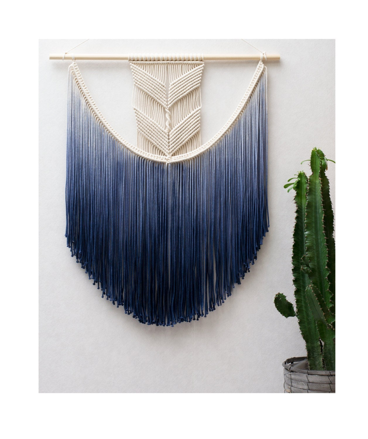 Large macrame wall hanging modern macrame dip dye ombre for Wall hangings