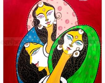 Original Acrylic Painting, wall decor, home decor, art, ethnic art - Mimosa-2