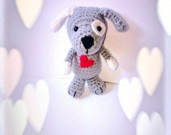 Dog plush/doudou handmade crochet - Teddy bear amigurumi hooked