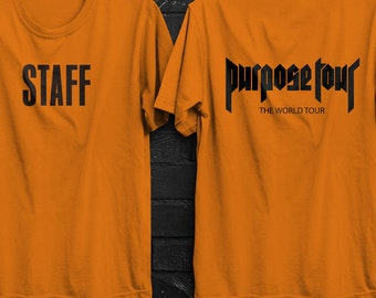 Justin Bieber, STAFF T-SHIRT, Orange, black and white shirt, Purpose tour, alchemist, Bieber stuf shirt, Bieber Purpose tour, orange colour