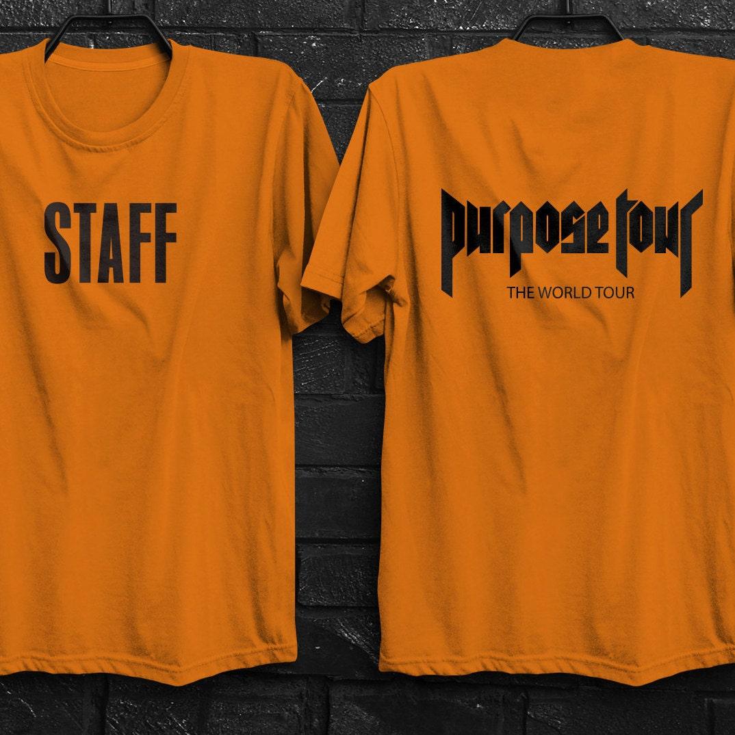 justin bieber staff t shirt orange black and white shirt. Black Bedroom Furniture Sets. Home Design Ideas